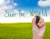 De hand schrijft sparen de wereld Stock Fotografie
