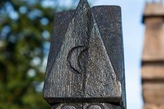 De hand sneed houten post in Memorial Park gewijd aan helden die in Hongaarse Revolutie van 1848 stierven stock afbeelding
