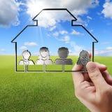 de hand toont 3d pictogram van het familiepixel Stock Afbeeldingen
