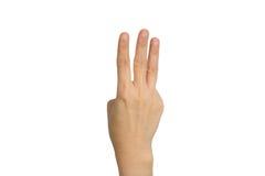 De hand toont drie vingers stock afbeeldingen