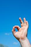 De hand toont o.k. sigh Royalty-vrije Stock Afbeelding