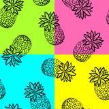 De hand trekt ananasachtergrond vector illustratie