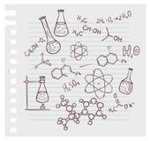 De hand trekt chemie op achtergrond Royalty-vrije Stock Foto