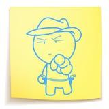 Cowboy cartoon_on sticky_notes Stock Afbeeldingen