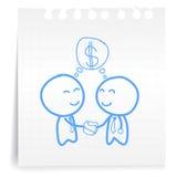 Het document van de de controlehand van de zakenman cartoon_on Nota Royalty-vrije Stock Foto's