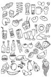 De hand trekt de inzameling van het voedselpictogram Stock Fotografie