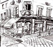 De hand trekt de koffiewinkel van Parijs royalty-vrije illustratie