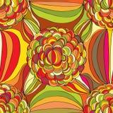 De hand trekt de lijn naadloos patroon van de bloemcirkel Stock Afbeeldingen