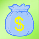 De Zak van het geld met het beeldverhaal van de Dollar Stock Afbeeldingen