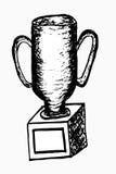 De hand trekt geïsoleerde schets van trofee, op wit Stock Afbeelding