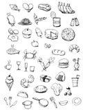 De pictogrammen van het voedsel overhandigen getrokken illustratie Stock Fotografie