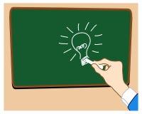 Trek idee cartoon_on whiteboard zwarte Royalty-vrije Stock Foto's