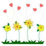 De hand trekt Harten en bloemen Royalty-vrije Stock Foto
