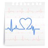 De grafiek van het hart op document Nota Royalty-vrije Stock Afbeeldingen
