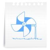 De turbine cartoon_on document van de wind Nota Royalty-vrije Stock Foto's