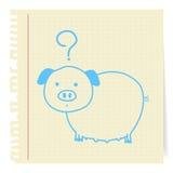 Het beeldverhaal van het varken op document Nota Stock Afbeelding