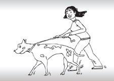 De hand trekt het lopen hond Stock Foto's