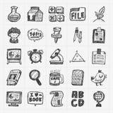 De hand trekt het pictogram van de krabbelschool Stock Afbeeldingen