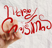 De hand trekt Kerstkaart op gerimpeld document aangezien de uitstekende stijl bedriegt royalty-vrije illustratie