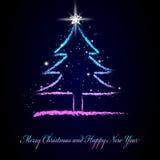 De hand trekt Kerstmisboom. Royalty-vrije Stock Afbeeldingen