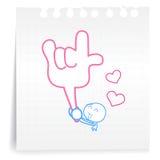 Liefde u cartoon_on document Nota Royalty-vrije Stock Foto's