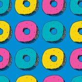 De hand trekt naadloos patroon Kleur donuts, roze, geel blauw, Vector illustratie stock illustratie