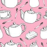 De hand trekt naadloos patroon Kop van koffie, theetijd Vector illustratie royalty-vrije illustratie