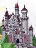 De hand trekt oud kasteel Royalty-vrije Stock Afbeeldingen
