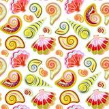 De hand trekt overzees shells patroon Naadloze textuur met hand geschilderde oceanic het levensvoorwerpen stock illustratie