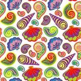 De hand trekt overzees shells patroon Naadloze textuur met hand geschilderde oceanic het levensvoorwerpen vector illustratie