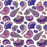 De hand trekt overzees shells patroon Naadloze textuur met hand geschilderde oceanic het levensvoorwerpen Vector de zomerachtergr royalty-vrije illustratie