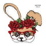 De hand trekt portret van konijn dragend een kroon van bloemen Vector illustratie vector illustratie