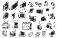 De hand trekt retro en moderne audiovideo Stock Afbeelding