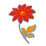 De hand trekt rode bloemen Stock Foto's
