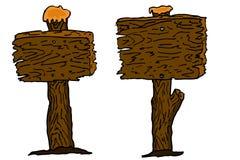 De hand trekt schets, houten plank Stock Afbeelding