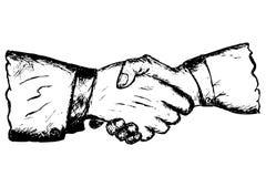 De hand trekt schets Twee hand het schudden Stock Foto