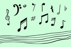 De hand trekt schets van muzieknoot, met naadloze lijn Royalty-vrije Stock Foto
