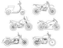 De hand trekt stijl van een vector nieuwe motorfietsillustratie voor het kleuren van boek stock foto's
