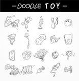 De hand trekt stuk speelgoed geplaatste elementenpictogrammen Stock Foto
