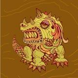 De hand trekt van draak in zentanglestijl Royalty-vrije Stock Afbeelding