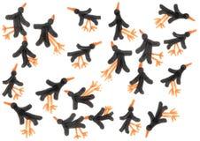 De hand trekt vogels op het witte naadloze patroon als achtergrond Royalty-vrije Stock Afbeelding