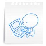 Werkende vermoeide cartoon_on document Nota Stock Foto's