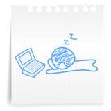 Werkende vermoeide cartoon_on document Nota Royalty-vrije Stock Foto's