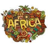 De hand van Afrika het van letters voorzien en krabbelselementen Stock Foto