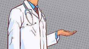 De Hand van artsenhold open palm aan Exemplaar Ruimteclose-up Medische Mannelijke Prectitioner in Witte Laag over Grappige Retro  vector illustratie