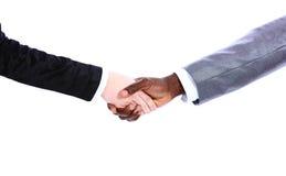 De hand van de Afrikaanse zakenman het schudden hand stock foto's