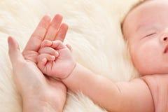 De hand van de baby op de palm van de moeder Stock Foto