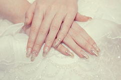 De hand van de bruid Stock Foto