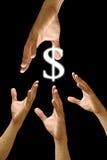 De hand van de concurrent om voor dollarpictogram te streven Stock Afbeeldingen