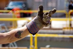 De hand van de contractant Stock Foto's